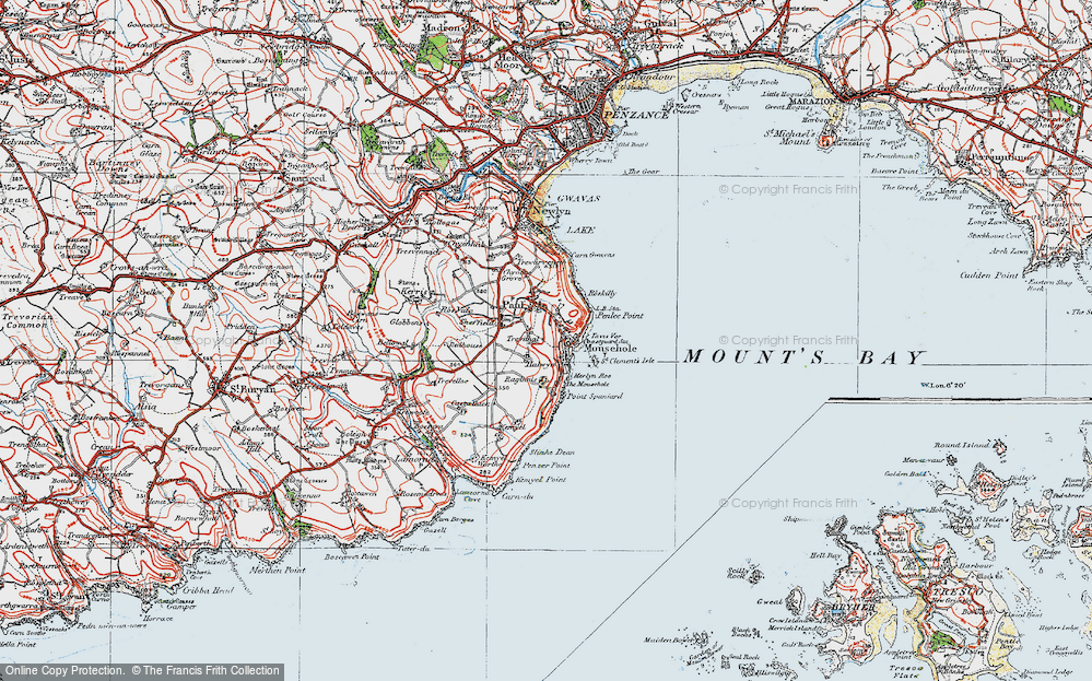 Old Map of Mousehole, 1919 in 1919