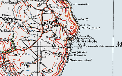 Old map of Mousehole in 1919