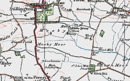 Old map of Whitecarr Beck in 1924