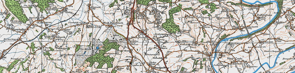 Old map of Much Birch in 1919