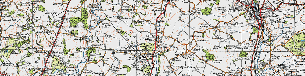 Old map of Much Hadham in 1919