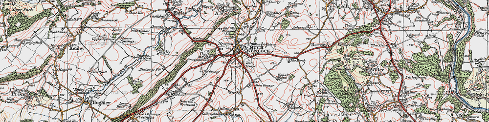Old map of Much Wenlock in 1921