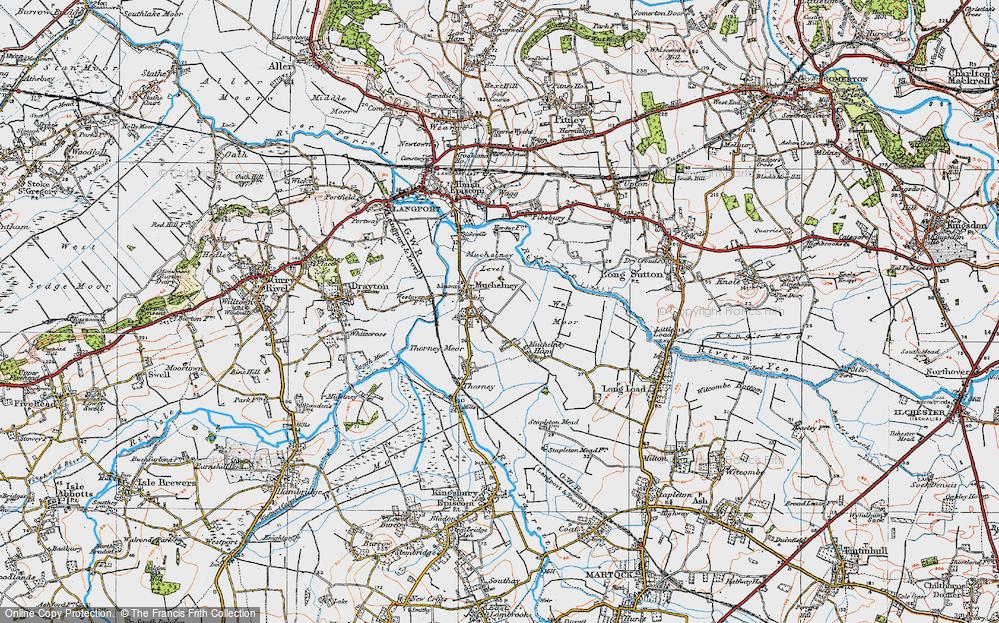Old Map of Muchelney, 1919 in 1919
