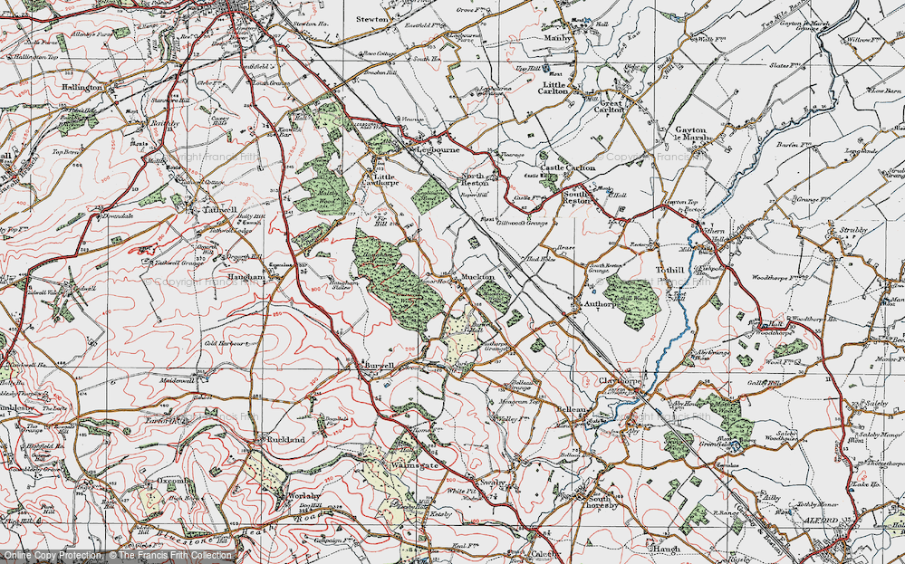 Old Map of Historic Map covering Authorpe Grange in 1923