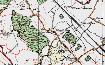 Old map of Authorpe Grange in 1923