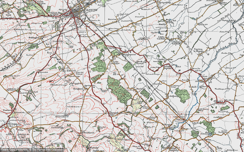 Old Map of Historic Map covering Legbourne Wood in 1923