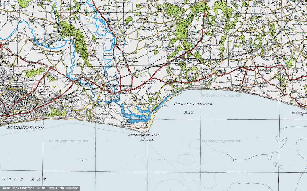 Old Map of Mudeford, 1919 in 1919