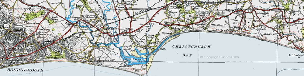 Old map of Mudeford in 1919
