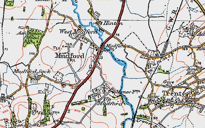 Old map of Mudford in 1919