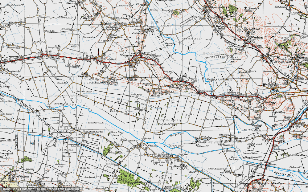 Old Map of Mudgley, 1919 in 1919