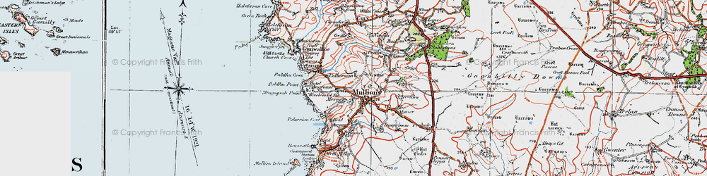 Old map of Mullion in 1919