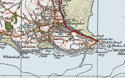 Old map of Mumbles, The in 1923