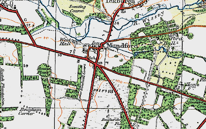 Old map of Mundford in 1920