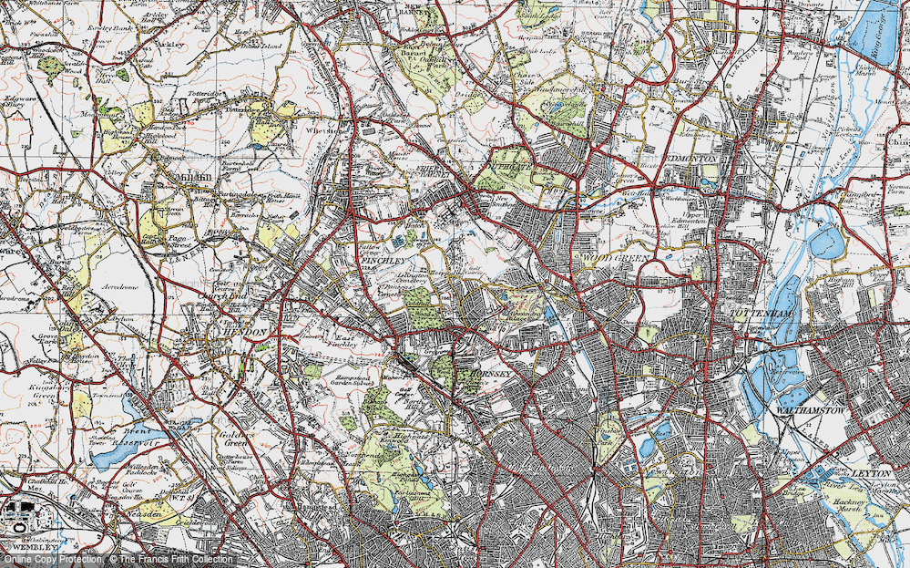 Old Map of Historic Map covering Alexandra Palace in 1920