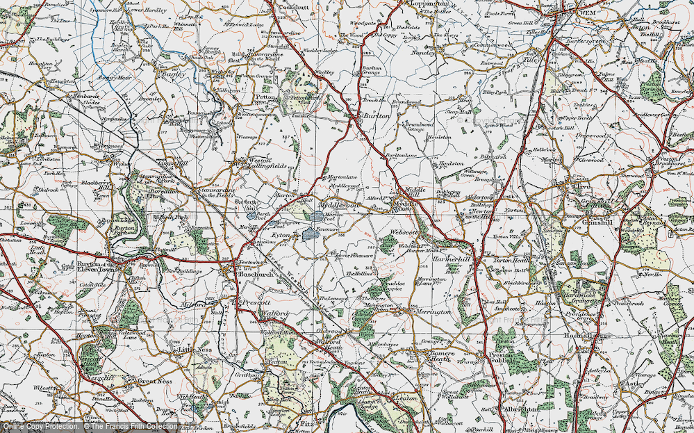 Old Map of Historic Map covering Leasows, The in 1921