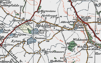 Old map of Leasows, The in 1921