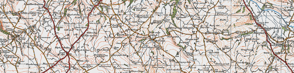 Old map of Afon Mydr in 1923