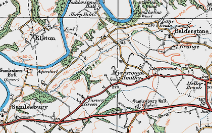 Old map of Balderstone Hall in 1924