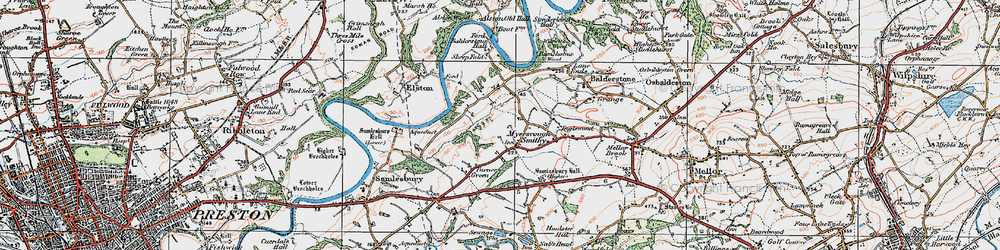 Old map of Alston Old Hall in 1924