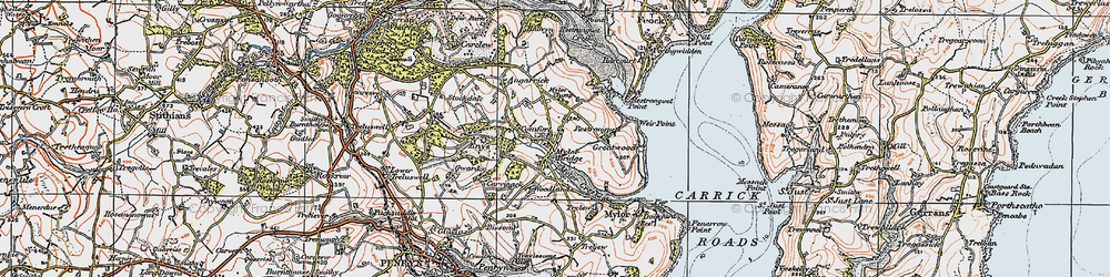 Old map of Mylor Bridge in 1919