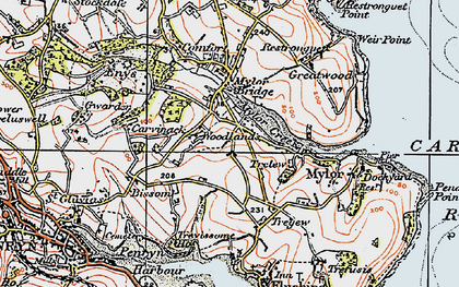 Old map of Mylor Creek in 1919