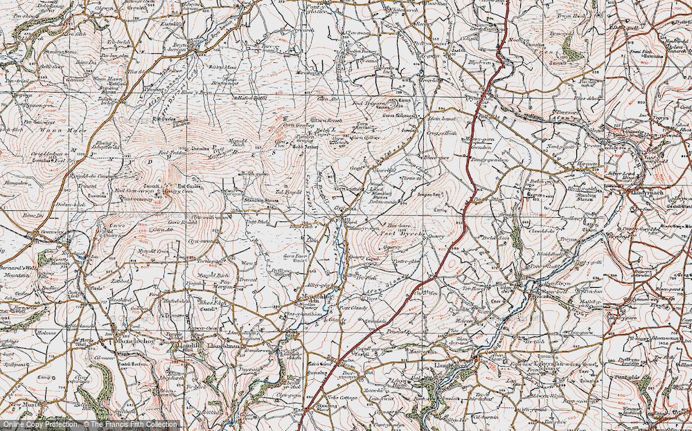 Old Map of Historic Map covering Allt-y-gôg in 1922