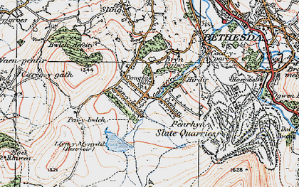 Old map of Afon Marchlyn-mawr in 1922