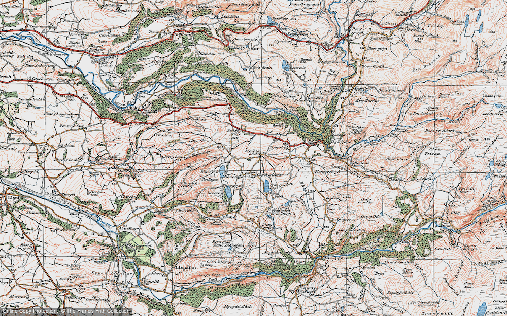 Old Map of Historic Map covering Banc Blaen Magwr in 1922