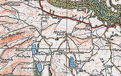 Old map of Banc Blaen Magwr in 1922