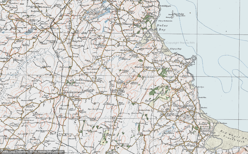 Old Map of Historic Map covering Afon Lligwy in 1922