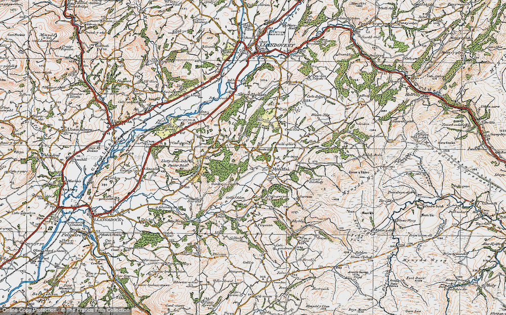 Old Map of Historic Map covering Afon Ydw in 1923