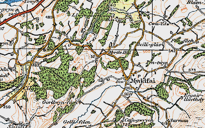Old map of Afon Ydw in 1923