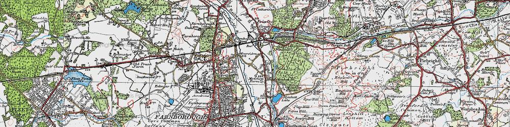 Old map of Mytchett in 1919