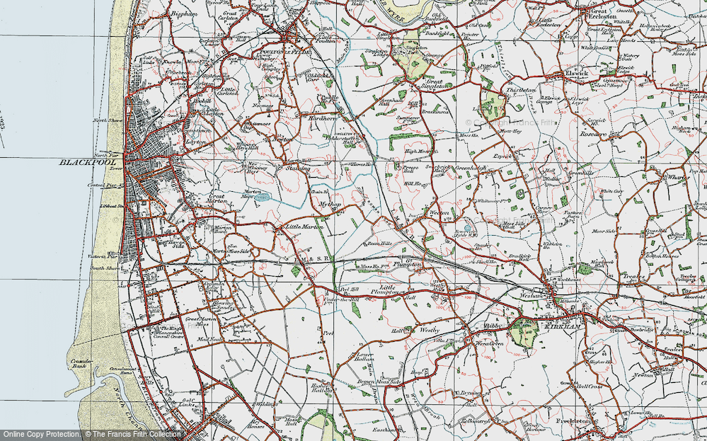 Old Map of Historic Map covering Todderstaffe Hall in 1924