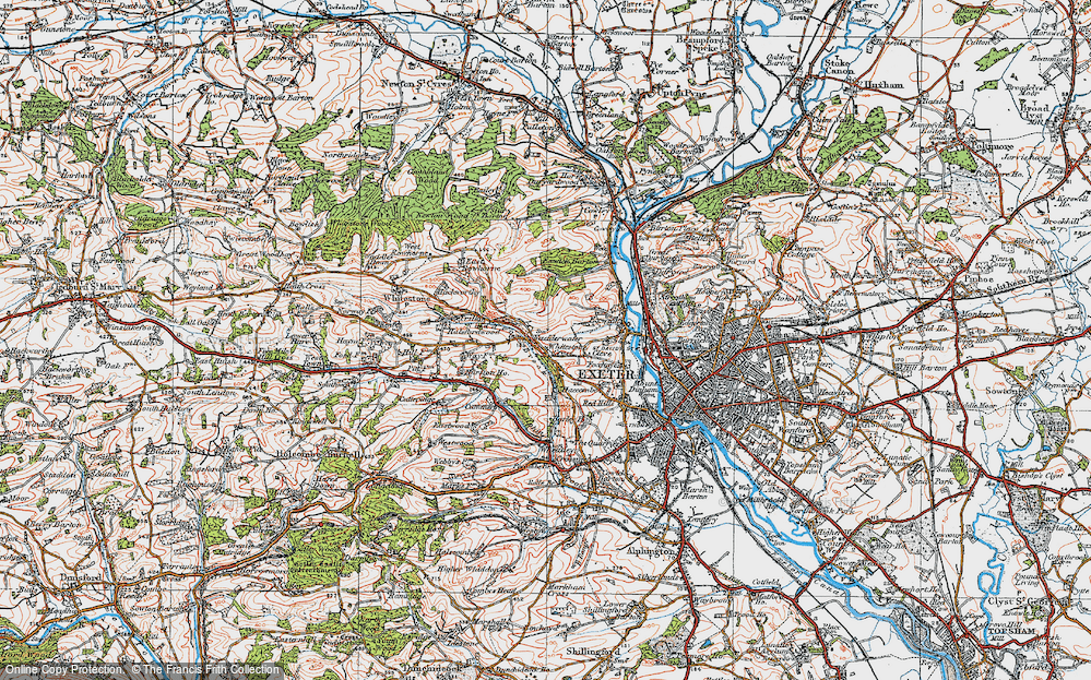 Old Map of Historic Map covering Alphin Brook in 1919