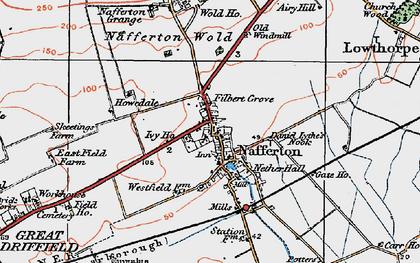 Old map of Nafferton in 1924