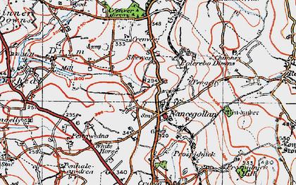 Old map of Nancegollan in 1919
