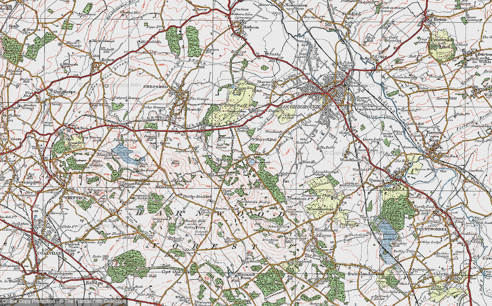 Old Map of Historic Map covering Wood Brook in 1921