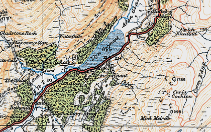 Old map of Afon Cors-y-celyn in 1922