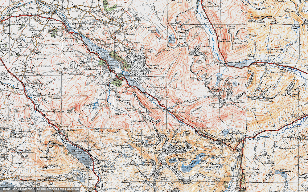 Old Map of Nant Peris, 1922 in 1922