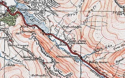 Old map of Afon Gafr in 1922
