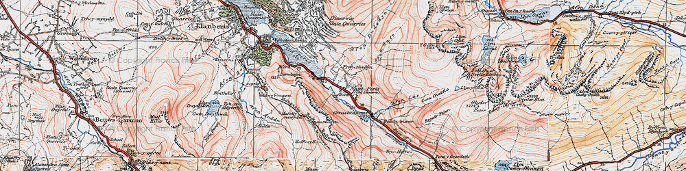 Old map of Nant Peris in 1922