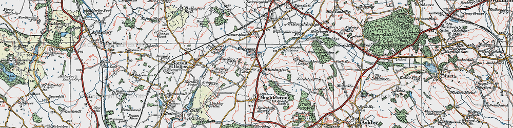 Old map of Willoughbridge Lodge in 1921