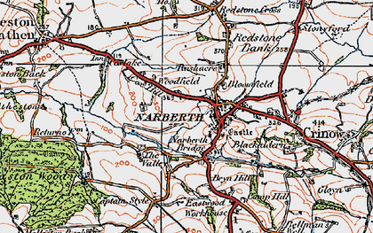Old map of Narberth in 1922