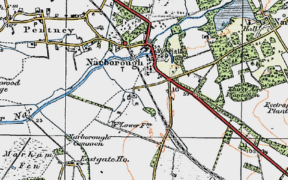 Old map of Narborough in 1921