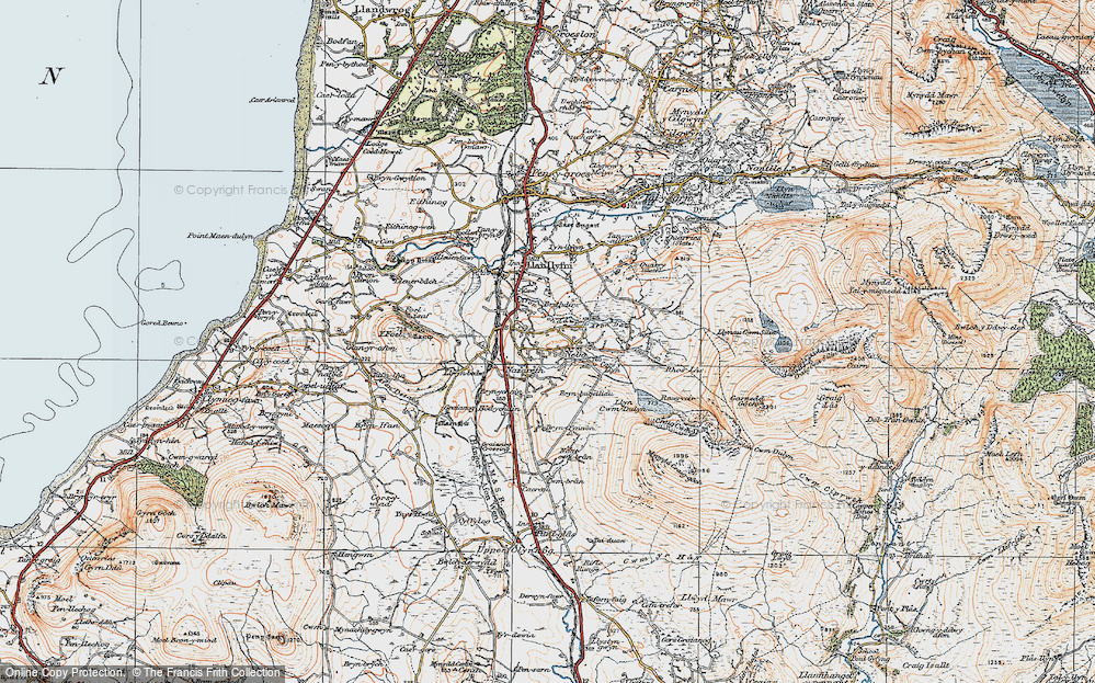 Old Map of Historic Map covering Afon Ddu in 1922