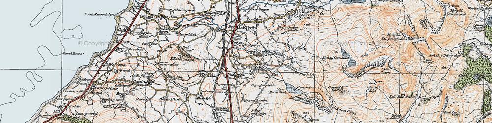 Old map of Afon Crychddwr in 1922