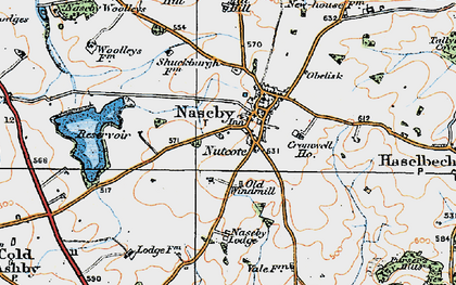 Old map of Naseby in 1920