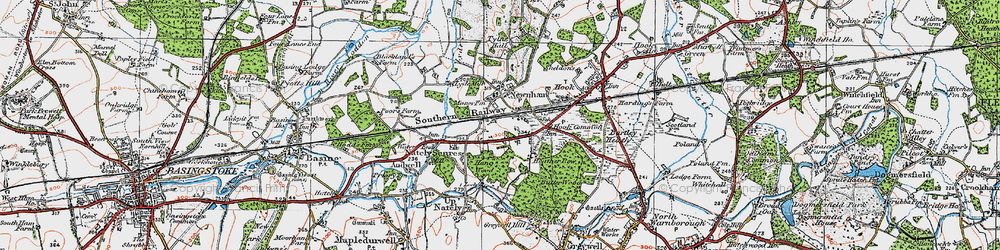 Old map of Nately Scures in 1919