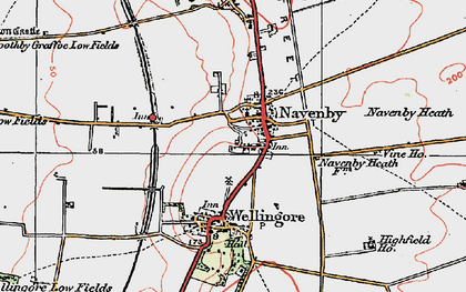 Old map of Navenby in 1923